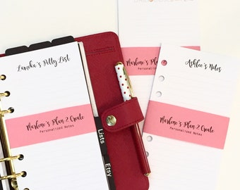 Personalized Notes Planner Inserts for Personal Size Planners - Filofax Kikki k