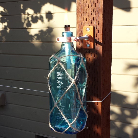 Handmade Bombay Sapphire Gin Liquor Bottle Tiki Torch
