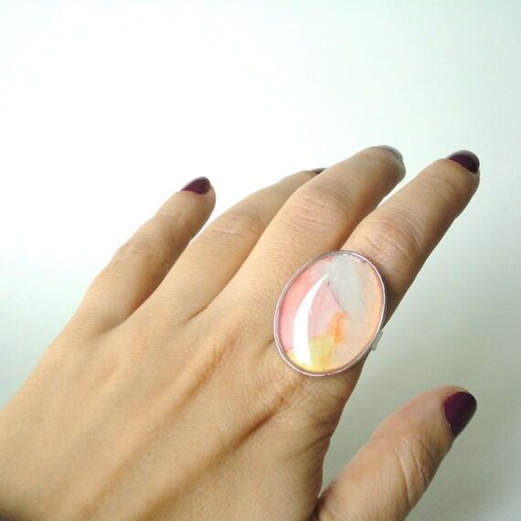 Resin ring, contemporary ring, abstract ring, watercolor ring, pink ring, adjustable ring