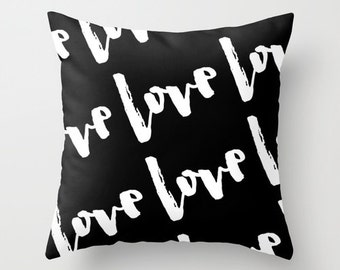 Black and White Pillow - Love Pillow - Modern Decorative Pillows - Velveteen Pillow Cover - Modern Pillows - Gifts for Her - Teen Gifts