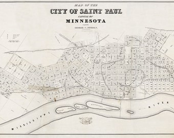 1852 Map of Saint Paul Minnesota