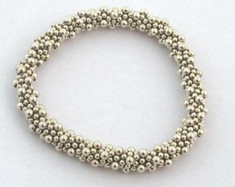 Sterling Silver Bead Crochet Bracelet