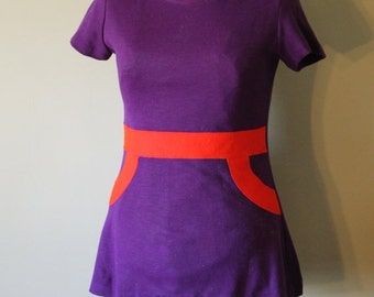 REDUCED - Vintage 60s Mod Purple and Red-Orange Mini Dress/Tunic Med.