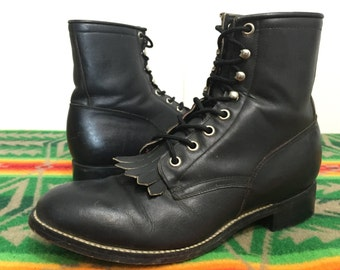 80's justin black leather western / cowboy boots lace up made in usa size 5