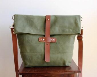 Waxed canvas bag, waxed canvas messenger bag, waxed canvas shoulder bag, waxed bag, waxed canvas handbag, foldover bag, messenger, bag