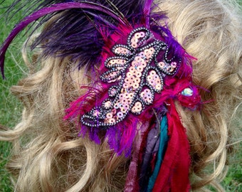 Colorful Gypsy/Boho/Festival Hairpiece