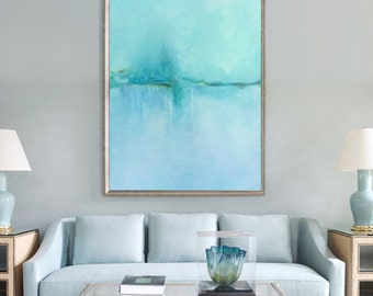 blue turquoise green drip reflection landscape water abstract painting