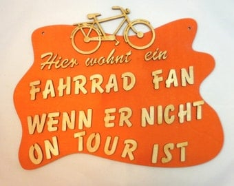 Wooden door sign crazy gift idea bike door sign for cyclists, bicycle on tour door sign from wood, wood particles gift idea DIY