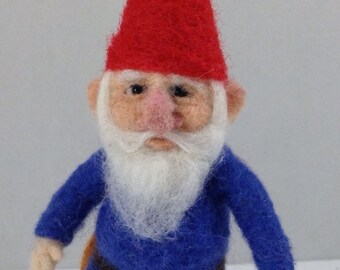 "OOAK Needle Felted Traditional Gnome 5-1/2"" tall ~ by artist C.E Turner"