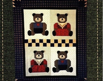 "Bear With Us~ Quilt Pattern with instructions and diagrams ~From Fabric Expressions # P191 ~ Uncut NIP ~ Finished Size 40"" x 48"