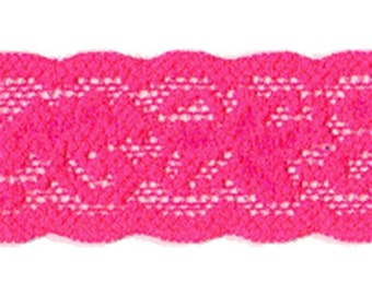 """1"""" Neon Hot Pink Stretch Lace Trim Craft Supplies & Fabric w/ FREE Shipping - Price Per Yard!"""