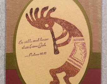 Handmade Card of Embossed Kokopelli
