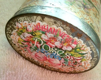 Vintage Lillian Vernon metal tin made in England Roses and Lavender
