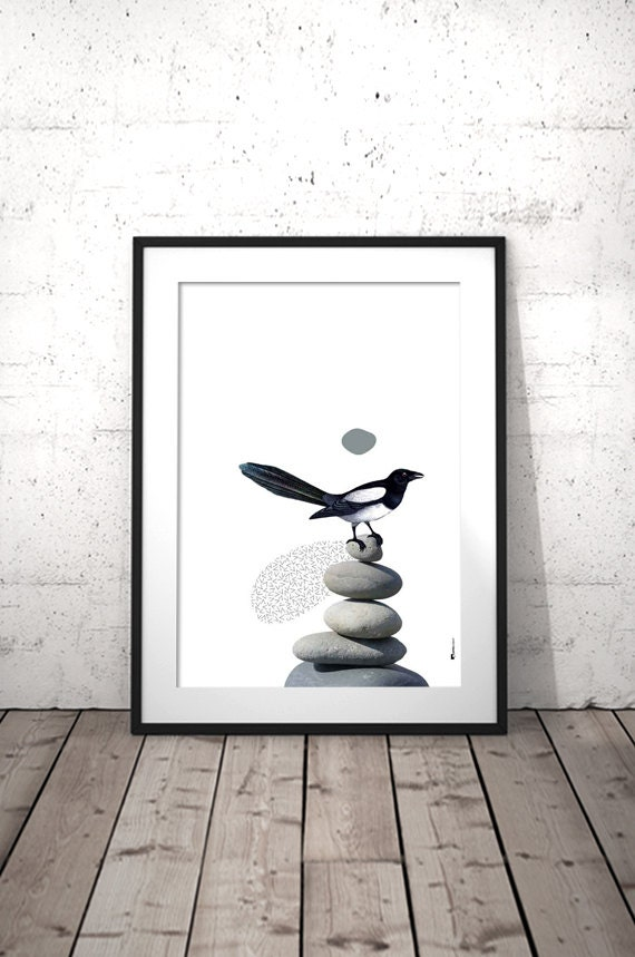 Bird Wall Art Decor Poster Scandinave Black And White Print
