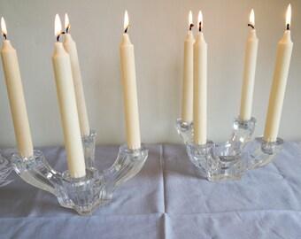Pair of Art Deco Val Saint Lambert cristal candlesticks/vintage 1930