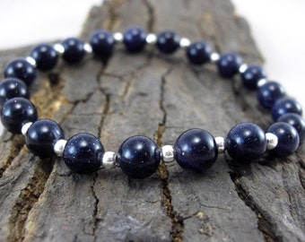 Glitter bracelet Blue River pearls and silver beads beads
