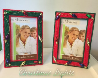 Christmas lights picture frames