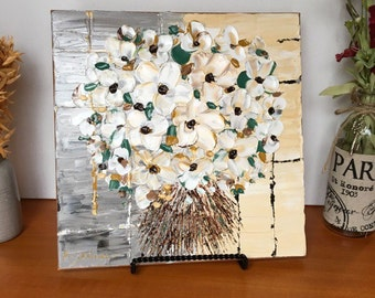 Oil Painting, Original, ivory blossom bunch