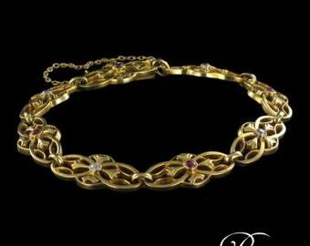 Bracelet gold Ruby diamonds