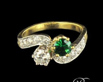 Ring you me Emerald diamonds yellow gold 18K 19th modern