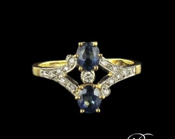 Ring Sapphire Yellow Gold Diamond