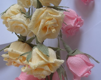 Wedding Table Decorations Crepe Paper Roses in any colour is neaded