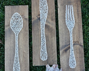 Fork Knife and Spoon String Art - Made to Order