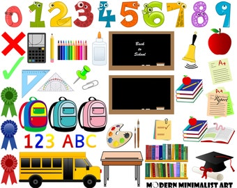 43 PNGS, School Clipart, Education Clipart, Teacher Clipart, School Vectors, School Bags, Back to School, School Bus, Cute Numbers