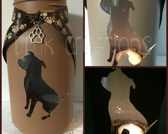 Pitbull, Sitting Pitbull Mason Jar Tea Light Candle Holder