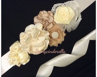 Shabby chic flower bridal sash belt fabric flower wedding sash belt
