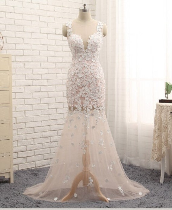 Elegant 2 Piece Wedding Dresses : Elegant soft peach tulle with lace appliques two piece