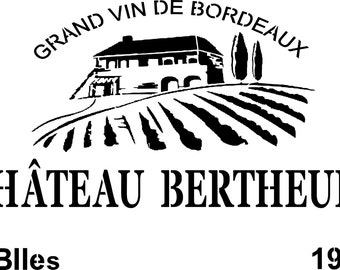 "Stencil stencil ""Castle Bertheuil"" to decorate how case of wine, bistro, English touch trend"