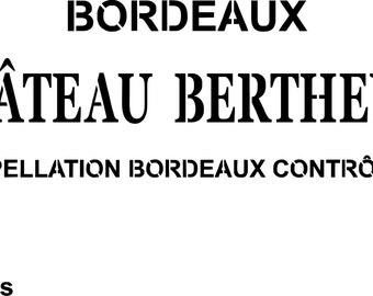 """Stencil, Pochoir """"Appellation vin"""" pour décorer façon caisse de vin, tendance bistro, french touch"""