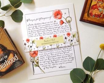 Motherhood Print Set, Orthodox Christianity, Ancient Prayer, Calligraphy, Illustration, Hand lettering, Floral, 8x10