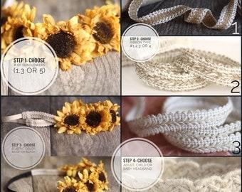 Customize Your Own Sunflower Headband.  Flower headband.  Flower crown.