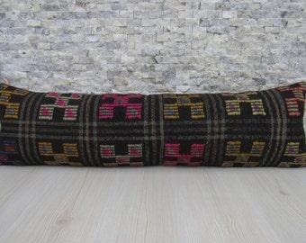 embroidery design goat hair woven kilim lumbar 12 x 42 home decor ethnic pillow handmade kilim lumbar cover kilim pillow floor pillow