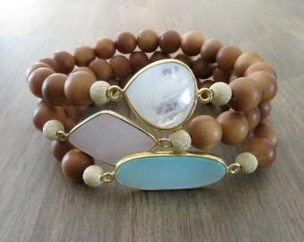 Fragrant Sandalwood Bracelet-Yoga Jewelry-Meditation Jewelry-Beaded Stretch Bracelet-Stacking Bracelet-Bohemian Jewelry-Gifts Under 50