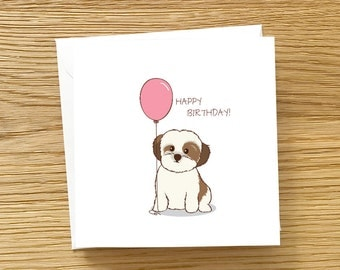 Dog Birthday Card - Shih Tzu with Birthday Balloon, Shih Tzu Birthday Card, Shih Tzu Card, Dog card, Cute Birthday Card