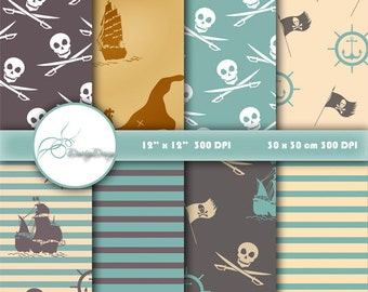 Pirates Digital Paper Pack, pirates nautical digital paper, pirates party paper, scrapbook paper, digital backgrounds, treasure map