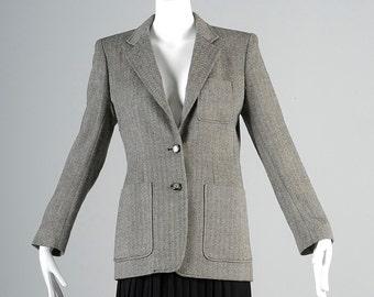 Vintage 90s Silk Wool Ralph Lauren Black White Boyfriend Blazer Jacket Houndstooth