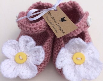 Hand Knitted Daisy Mary Jane Shoes
