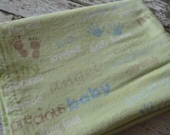 Green/Blue/Brown receiving blanket