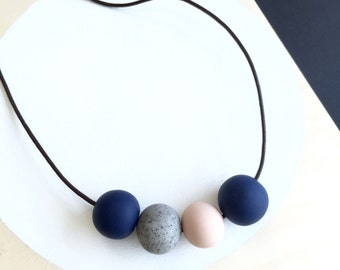 modern blue blush grey polymer clay necklace handmade by accentvault   unique gift for her