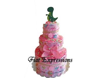 Dinosaur Girl Diaper Cake
