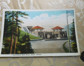 Government Bath House Banff Alberta Linen Postcard Used Vintage