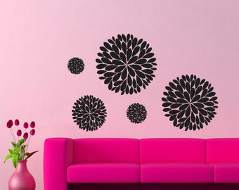 Flowers Wall Decal Flowers Wall Decal Flower Wall Sticker Flower Sticker For Wall floral wall decals Circles wall decal (Z223)