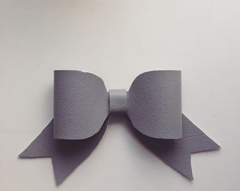 Grey Faux leather new style bow