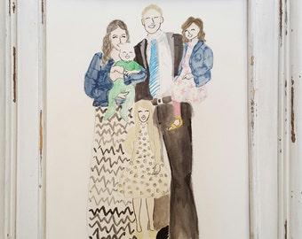 Custom Family Portrait Illustration - Custom Family Portrait - Custom Illustration - Custom Watercolor Portrait - Illustration - Family