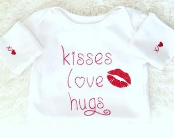 Valentine's Day,Kisses,Love,Hugs,XOXO,Glitter,Bodysuits,Tops,Girls Fashion, Baby Girl Fashion,Toddler,Lips,Will You Be My Valentine,Be Mine