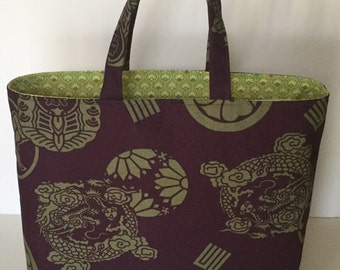 """Japanese """"Mon"""" Print Cotton Canvas Lined Tote"""